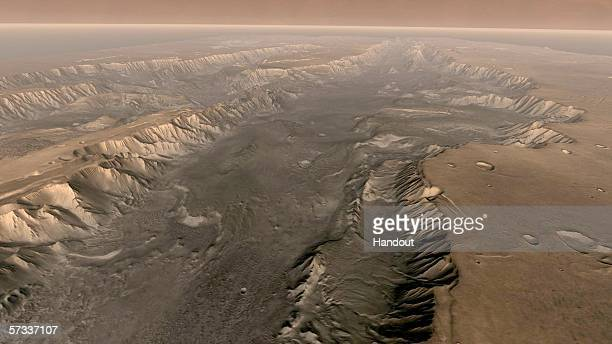 MARINERIS MARS Mars' own Grand Canyon Valles Marineris is shown on the surface of the planet in this composite image made aboard NASA's Mars Odyssey...