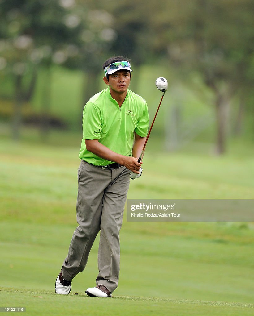 Mars Pucay of Philippines hits a shot during previews ahead of the Worldwide Holdings Selangor Masters at Kota Permai Golf and Country Club on September 4, 2012 in Shah Alam, Selangor, Malaysia.