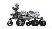 Mars Rover, robotic autonomous vehicle isolated on white background, 3D  rendering