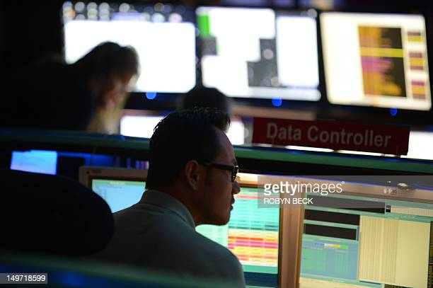 Mars Science Laboratory mission members work in the data processing room beside Mission Control at the Jet Propulsion Laboratory in Pasadena...