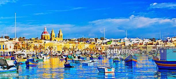 Marsaxlokk 漁村、マルタ