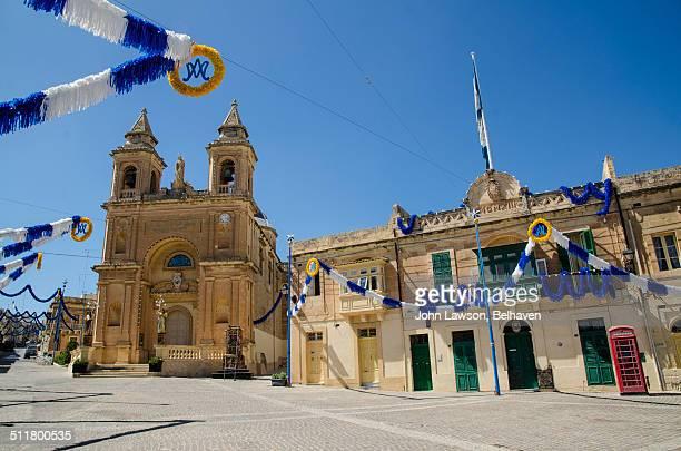 Marsaxlokk main square and church, Malta