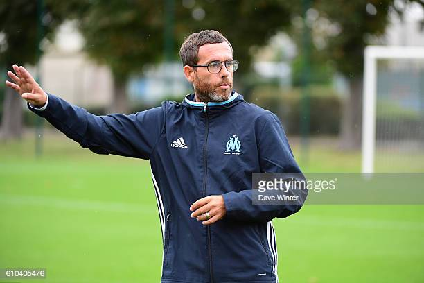 Marseille coach Christophe Parra during the women's French D1 league match between PSG and Olympique de Marseille at Camp des Loges on September 25...