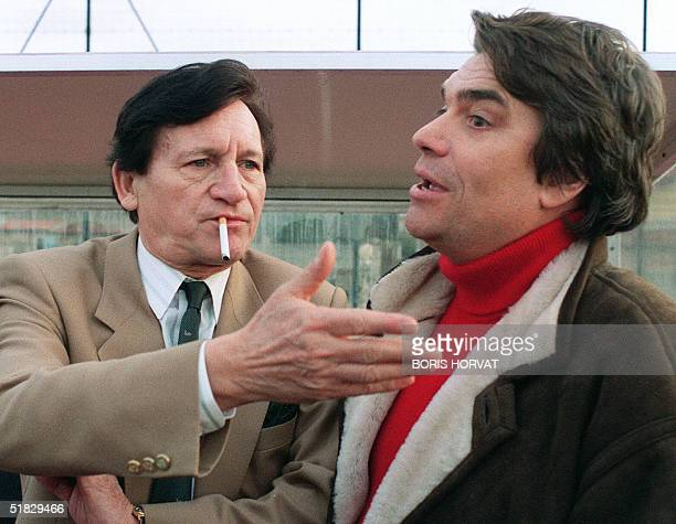 Picture taken 02 January 1991 in Marseille of Marseille's Belgian coach Raymond Goethals talking with OM's chairman Bernard Tapie European Cup...