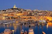Marseille harbor night