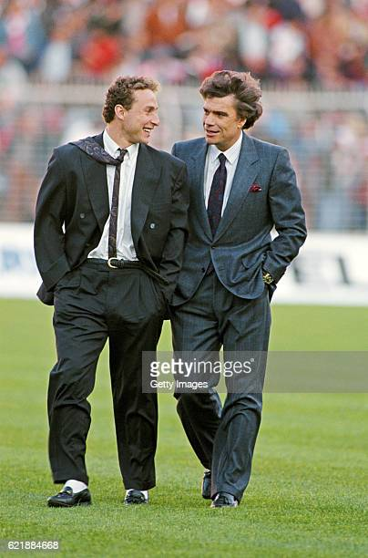 FEBRUARY 03 Marseille president Bernard Tapie and forward Jean Pierre Papin chat before the European Cup semi final second leg between Benfica and...