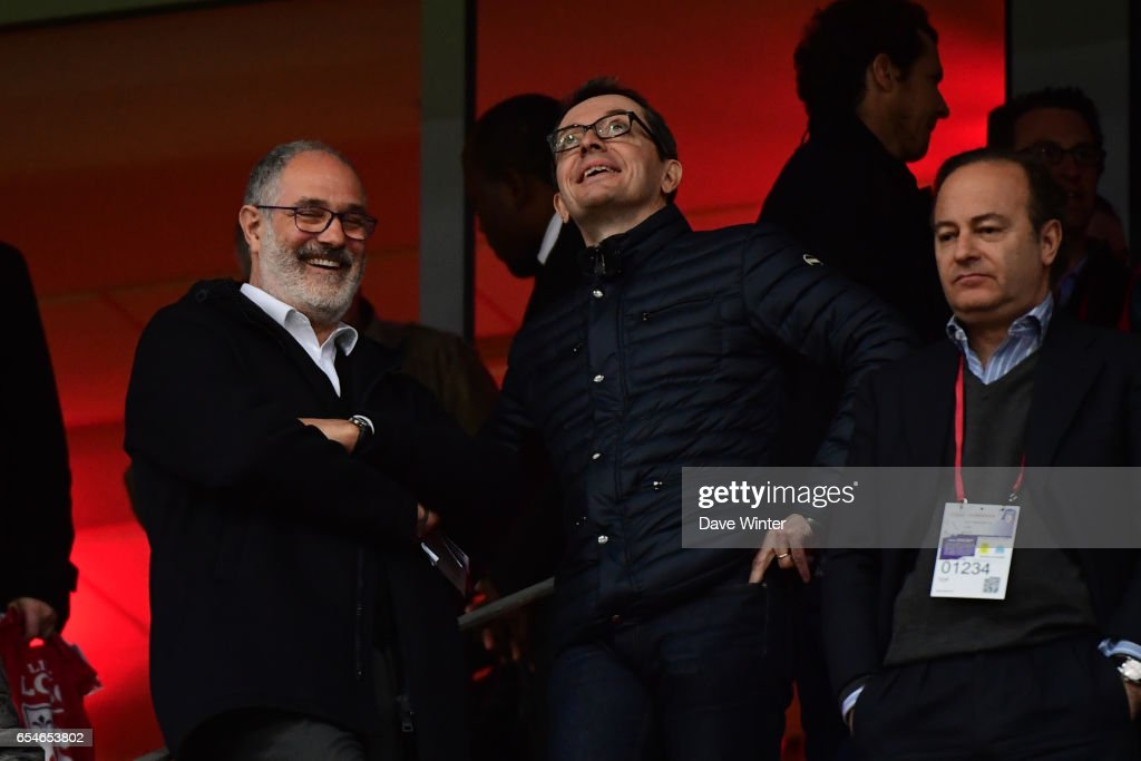 Marseille sporting director Andoni Zubizarreta and Marseille president Jacques Henri Eyraud during the Ligue 1 match between Lille OSC and Olympique de Marseille at Stade Pierre Mauroy on March 17, 2017 in Lille, France.