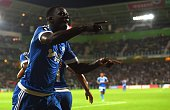 Marseille's Andre Zambo Anguissa celebrates during the UEFA Europe League Group F football match between FC Groningen and Olympique de Marseille at...