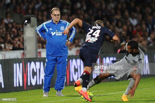 Marseille's Argentinian head coach Marcelo Bielsa attends the French L1 football match between Girondins de Bordeaux and Marseille on April 12 2015...