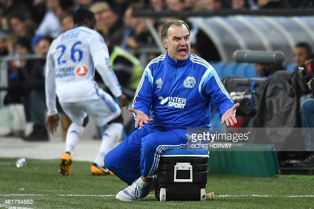 Marseille's Argentinian head coach Marcelo Bielsa gestures during the French L1 football match between Olympique of Marseille and Guingamp at the...