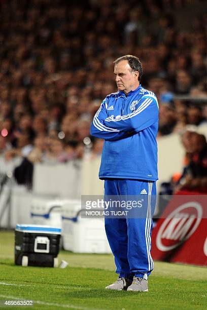 Marseille's Argentinian head coach Marcelo Bielsa looks on during a French L1 football match between Bordeaux and Marseille on April 12 2015 at the...
