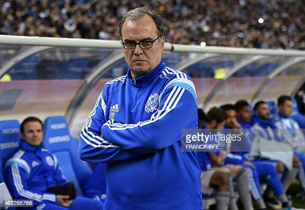 Marseille's Argentinian head coach Marcelo Bielsa looks on during the French L1 football match between Lens and Marseille on March 22 2014 at the...