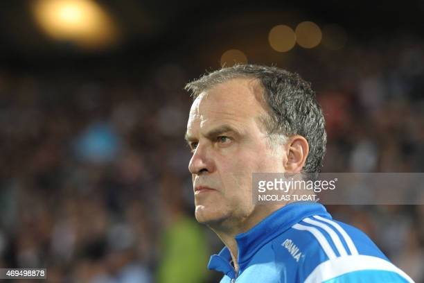 Marseille's Argentinian head coach Marcelo Bielsa looks on during the French L1 football match between Girondins de Bordeaux and Marseille on April...