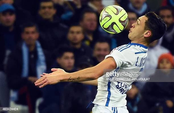 Marseille's Argentinian midfielder Lucas Ocampos controls the ball during the French L1 football match Marseille vs Reims on February 13 2015 at the...