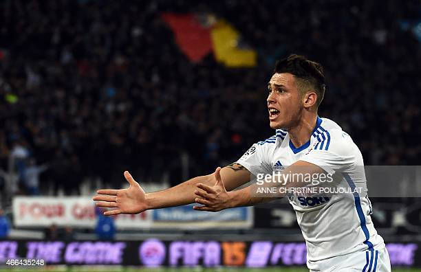 Marseille's Argentinian midfielder Lucas Ocampos reacts during the French L1 football match Olympique de Marseille vs Lyon on March 15 2015 at the...