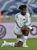 Marseille's Belgian forward Michy Batshuayi reacts during the French Cup semifinal football match between SochauxMontbeliard and Olympique de...