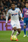 Marseille's Belgian forward Michy Batshuayi runs with the ball on February 27 2015 during a French L1 football match Olympique de Marseille vs Stade...