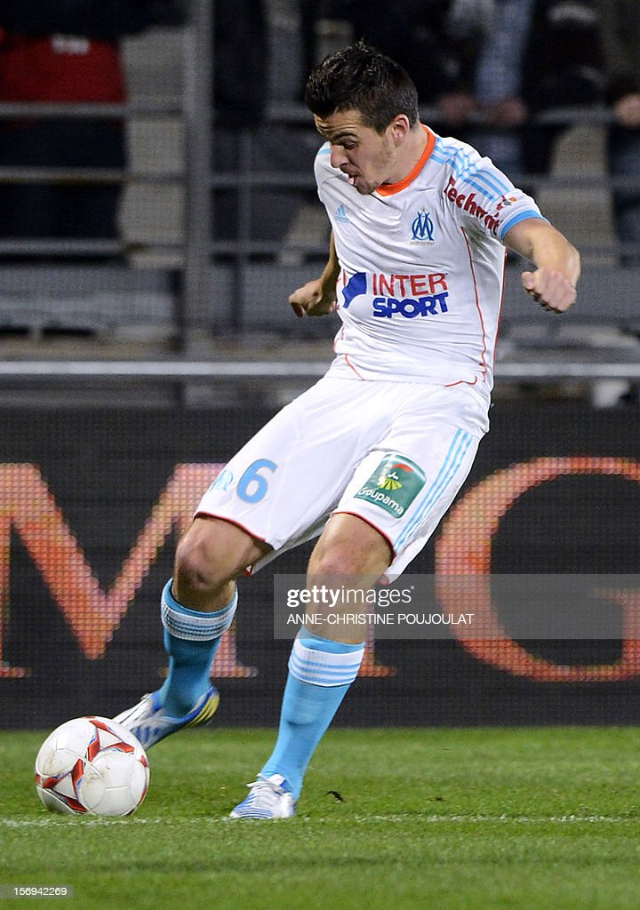 Marseille's British mildfielder Joey Barton kicks the ball during the French L1 football match Marseille vs Lille on November 25, 2012 at the Velodrome stadium in Marseille, southern France.