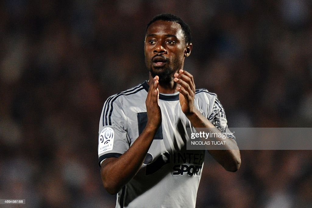 Marseille's Cameroonian defender <a gi-track='captionPersonalityLinkClicked' href=/galleries/search?phrase=Nicolas+Nkoulou&family=editorial&specificpeople=5398235 ng-click='$event.stopPropagation()'>Nicolas Nkoulou</a> reacts during the French L1 football match between Girondins de Bordeaux (FCGB) and Marseille (OM) on April 12, 2015 at the Chaban-Delmas stadium in Bordeaux, southwestern France. AFP PHOTO / NICOLAS TUCAT