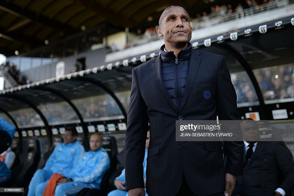 Marseille's French assistant coach Franck Passi looks on during the French L1 football match between Angers and Marseille on May 1, 2016 at the Jean Bouin stadium in Angers, western France.