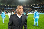 Marseille's French coach Franck Passi is pictured at the end of the French Cup semifinal football match between Sochaux and Marseille at Auguste...