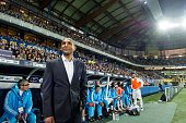 Marseille's French coach Franck Passi looks on before the French Cup semifinal football match between Sochaux and Marseille at Auguste Bonal stadium...