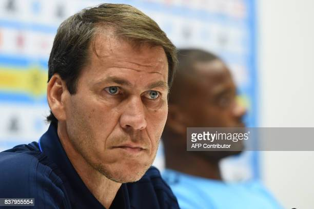 Marseille's French coach Rudi Garcia holds a press conference at the Velodrome Stadium in Marseille southeastern France on August 23 2017 on the eve...