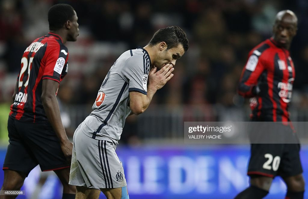 Marseille's French defender Jeremy Morel reacts during the French L1 football match Nice (OGC Nice) vs Marseille (OM) on January 23, 2015 at the 'Allianz Riviera' stadium in Nice, southeastern France.
