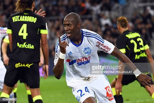 Marseille's French defender Rod Fanni celebrates after scoring his team's second goal during the French L1 football match Marseille vs Nantes on...