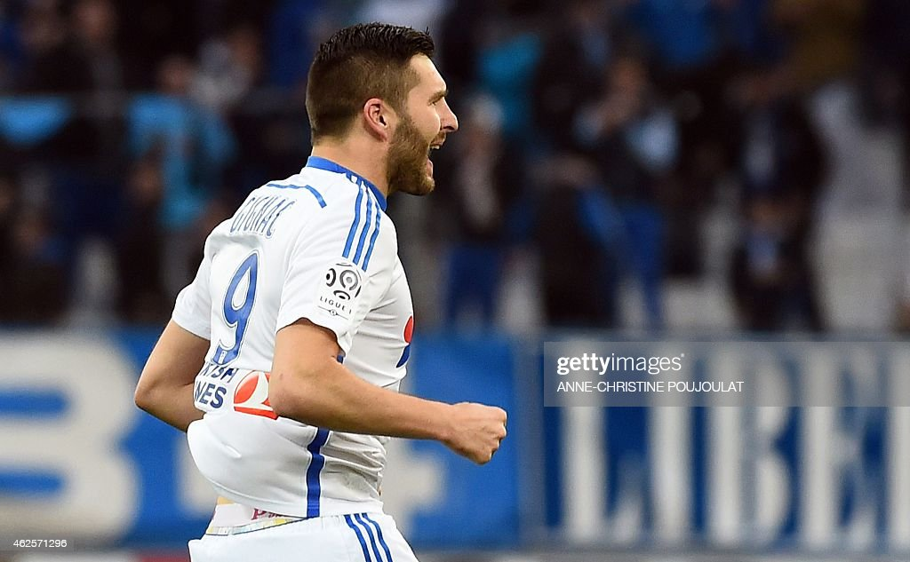Marseille's French forward <a gi-track='captionPersonalityLinkClicked' href=/galleries/search?phrase=Andre-Pierre+Gignac&family=editorial&specificpeople=1272457 ng-click='$event.stopPropagation()'>Andre-Pierre Gignac</a> reacts after scoring a goal during the French L1 football match between Marseille and Evian Thonon Gaillard, on January 31, 2015 at the Velodrome stadium in Marseille, southern France. PHOTO / ANNE