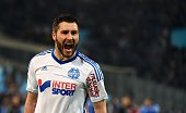 Marseille's French forward AndrePierre Gignac reacts after scoring a goal during the French L1 football match between Marseille and Paris Saint...