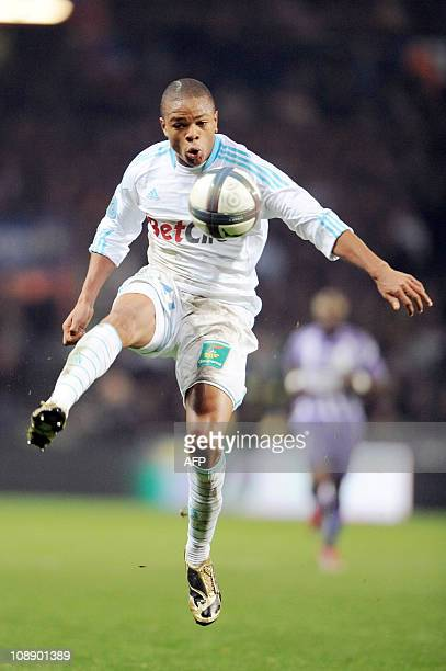 Marseille's French forward Loic Remy controls the ball during the French L1 football match Toulouse vs Marseille on November 20 2010 at the Stadium...