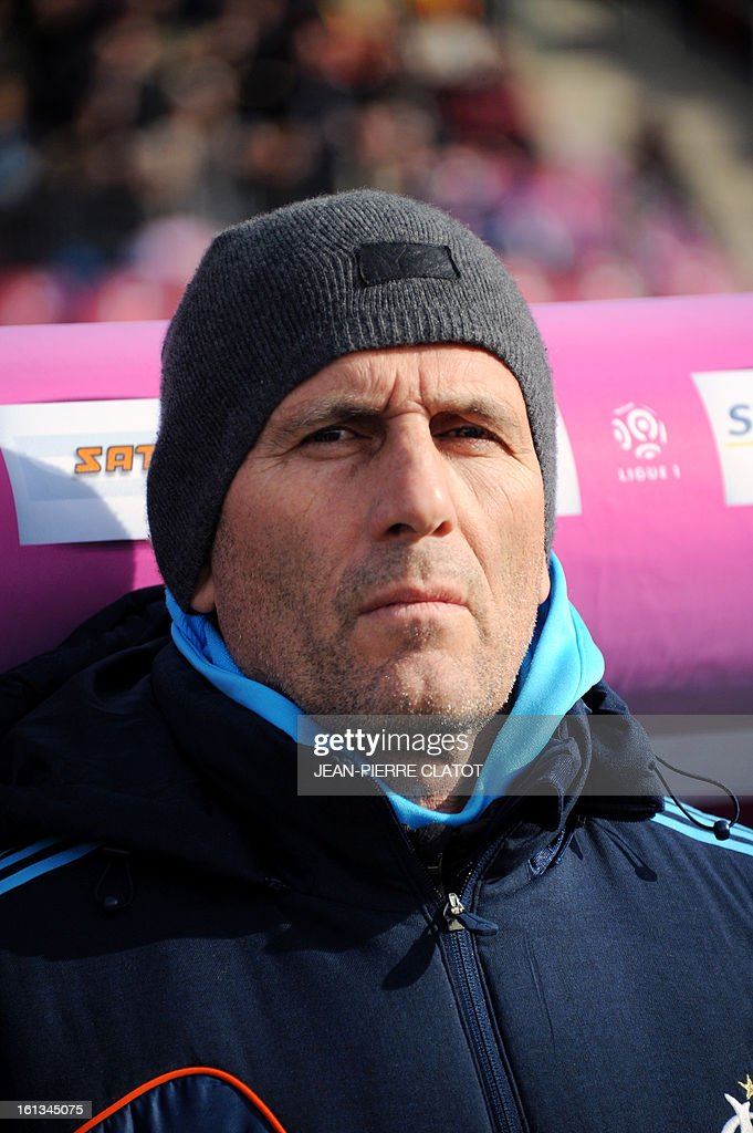 Marseille's French head coach Elie Baup attends the French L1 football match Evian (ETGFC) vs Olympique de Marseille (OM) on February 10, 2013 at the city stadium Parc-des-sports in Annecy, eastern France.