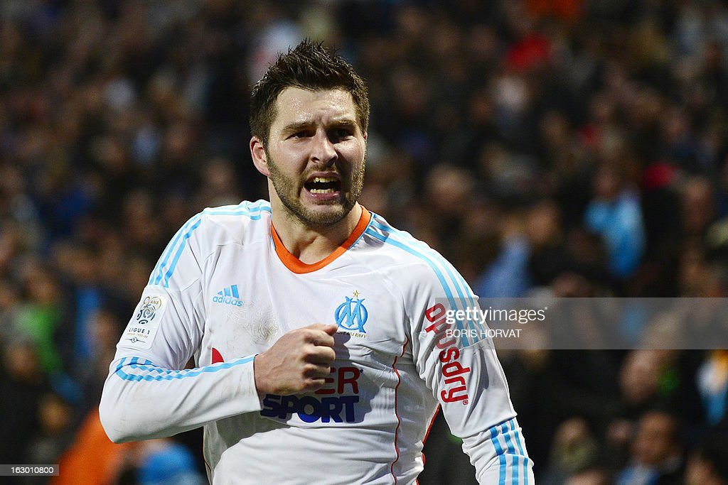 Marseille's French midfielder Andre Pierre Gignac jubilates after scoring during the French L1 football match Marseille (OM) vs Troyes (ESTAC) at the Velodrome stadium in Marseille on March 3, 2013.
