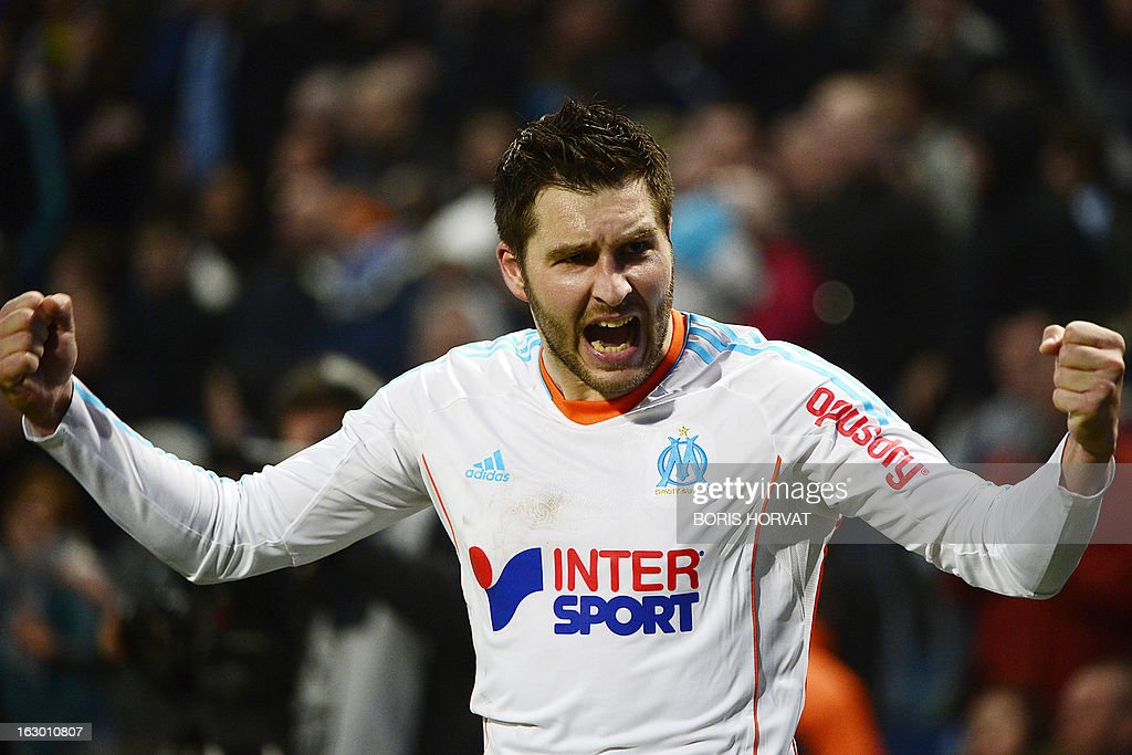 Marseille's French midfielder Andre Pierre Gignac jubilates after scoring during the French L1 football match Marseille (OM) vs Troyes (ESTAC) at the Velodrome stadium in Marseille, on March 3, 2013.