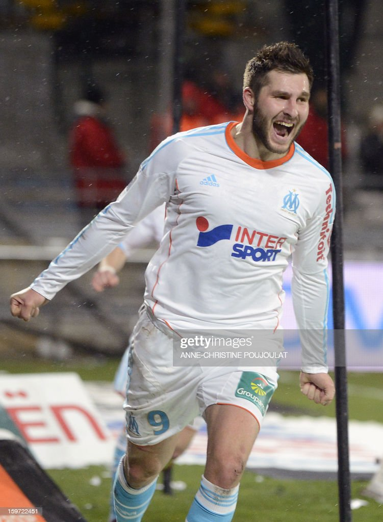 Marseille's French midfielder Andre Pierre Gignac reacts after scoring a goal during the French L1 football match Marseille (OM) vs Montpellier (MHSC) on January 19, 2013 at the Velodrome stadium in Marseille, southern France.