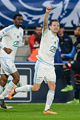 Marseille's French midfielder Florian Thauvin celebrates after scoring a goal during the French Cup semifinal football match between Sochaux and...