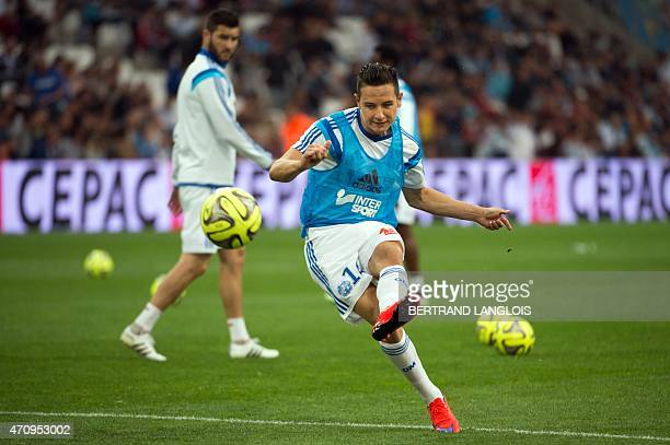 Marseille's French midfielder Florian Thauvin kicks the ball during a training before the French L1 football match between Marseille and Lorient on...