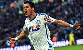 Marseille's French midfielder Florian Thauvin reacts after attempting to scored during the French L1 football match between Marseille and Evian...