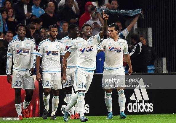 Marseille's French midfielder GeorgesKevin Nkoudou celebrates after scoring a goal during the UEFA Europa League football match between Marseille and...