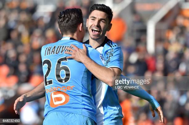 Marseille's French midfielder Morgan Sanson celebrates after scoring a goal during the French L1 football match FC Lorient vs Olympique de Marseille...