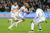 Marseille's Ghanaian forward Andre Ayew celebrates after scoring during the French L1 football match between Marseille and Metz at the Velodrome...
