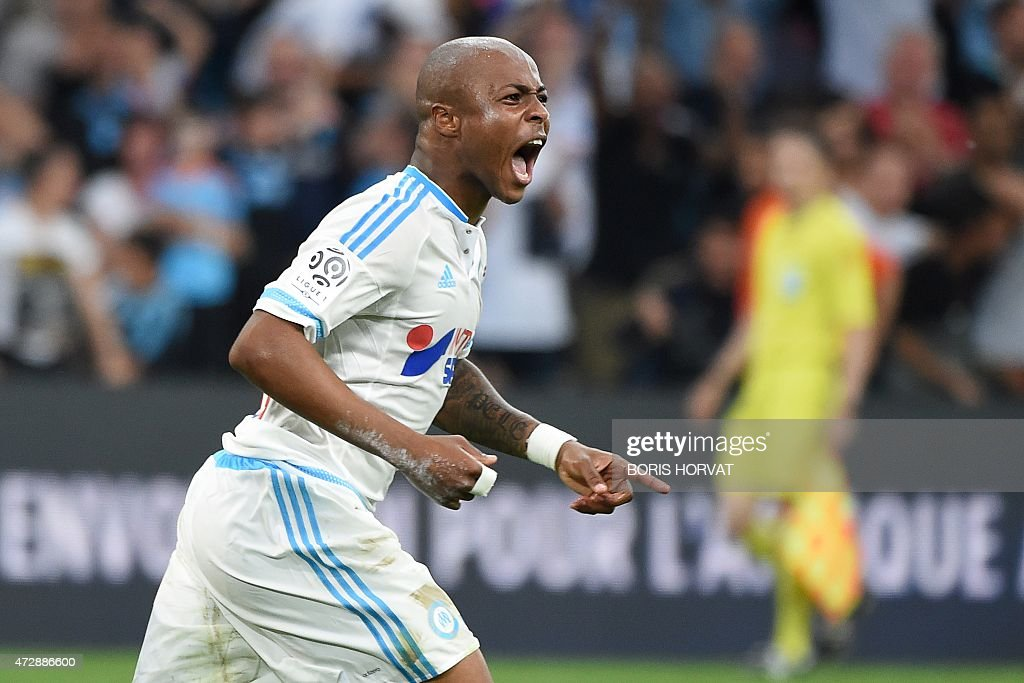 Marseille's Ghanaian forward Andre Ayew celebrates after scoring during the French L1 football match between Marseille and Monaco on May 10 2015 at...