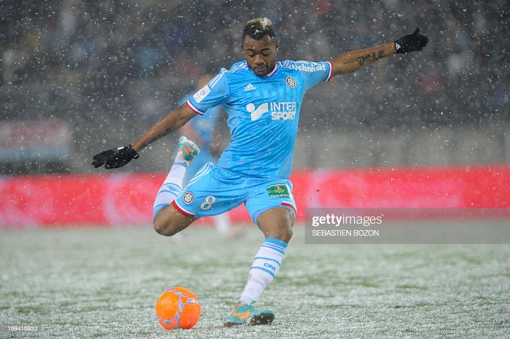 Marseille's Ghanaian forward Jordan Ayew kicks the ball during the French L1 football match Sochaux (FCSM) versus Marseille (OM) at the August Bonal Stadium in Montbeliard, on January 13, 2013