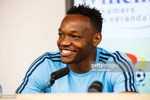 Marseille's goalkeeper Steve Mandanda speaks during a press conference of French club Olympic Marseille ahead of the UEFA Europa League third...