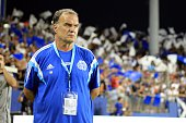 Marseille's head coach Marcelo Bielsna stands before the French L1 football match Bastia vs Marseille on August 9 2014 at the Armand Cesari stadium...
