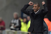 Marseille's intrim coach Franck Passi celebrates at the end of the French Cup semifinal football match between Sochaux and Marseille on April 20 at...
