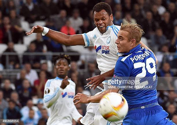 Marseille's Portuguese defender Jorge Pires de Fonseca Rolando vies with Liberec's defender Lukas Pokorny during the UEFA Europa League group F...