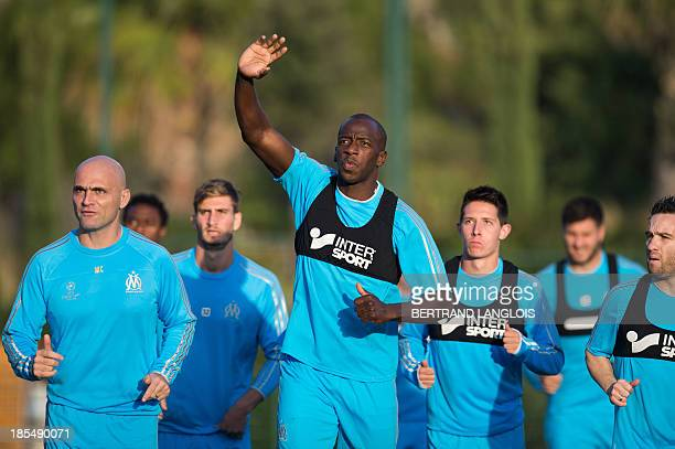 Marseille's Senegalese defender Souleymane Diawara gestures during a training session on the eve of the UEFA Champions League group F football match...
