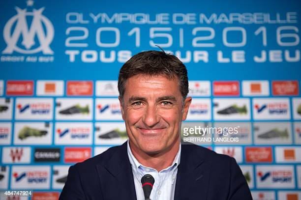 Marseille's Spanish head coach Jose Miguel Gonzalez Martin del Campo aka Michel takes part in a press conference two days ahead of L1 football match...
